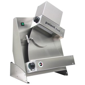 DOUGH SHEETER - ROLLING MACHINE - SINGLE ROLLER, ELECTRIC PEDAL - mod. DMA 310/1 - Power hp 0,33 -  230 V single phase - Dimensions  L 48 x D 33,5 x H 43 cm  - Weight Kg.18 - Pizza dimensions cm.14/30 - EC standards