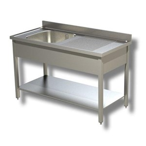 Sink unit n.1 basin - square legs - with bottom shelf