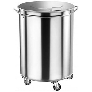 ROUND LITTER BIN - STAINLESS STEEL - MOD. AV466 - Complete with an internal metal basket and pedal