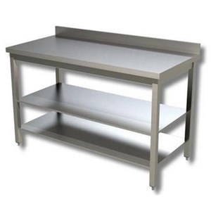 Stainless steel work table - square legs 4x4cm - frame on three sides - worktop thickness cm 4