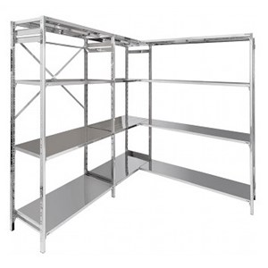 Stainless steel bolt-on shelf - Modular unit - Height cm 150 - 3 smooth shelves thickness cm 2,5 grade 8/10 stainless steel - complete with bolts and plastic feet - safety edges - shiny finish - modular unit (non self-supporting, must be assembled with base unit)