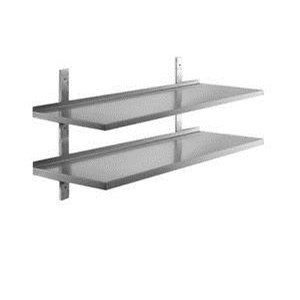 Smooth stainless steel wall shelf with upstand