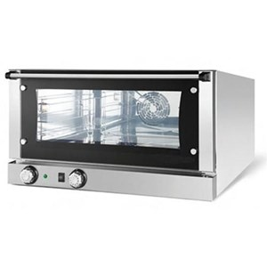 ELECTRIC CONVECTION OVEN - SUITABLE FOR GASTRONOMY, PASTRY AND BAKERY - MOD. K 4 MEC - BOTTOM-HINGED DOOR - SINGLE PHASE SUPPLY 230V/1/50Hz - POWER kW 3,35 - CAPACITY N. 4 TRAYS/RACKS cm 43,5 x 35 - DIMENSIONS Cm L 58,9 x D 66 X h 58