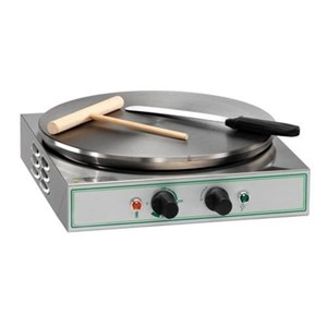 ELECTRIC CREPE MAKER - MOD. PARMA_LISCIA - COOKING SURFACE Ø cm 35 - FLAT BORDER - POWER W 2000 - DIMENSIONS Cm L35 X D35 X h13,5 - WEIGHT kg 10 - EC STANDARDS