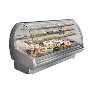 AMBIENT DISPLAY COUNTER (NON REFRIGERATED) - MOD. EVO_NE - OPENING GLASS FRONT - TEMPERED GLASS CERAMIC SLIDING REAR DOORS - GLASS CERAMIC END WALLS - N. 3 SHELVES WITH LIGHTING - EC STANDARDS - INTERIOR DEPTH: cm 66