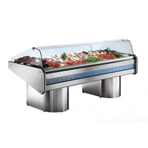 REFRIGERATED DISPLAY COUNTER - SUITABLE FOR THE DISPLAY OF FRESH FISH - MOD. VR 2005 - AISI 316 STAINLESS STEEL WORKTOP AND DISPLAY DECK - HINGED CURVED GLASS FRONT - STAND ON CASTORS - BUILT-IN MOTOR - SINGLE PHASE SUPPLY V 230/50 Hz - STATIC COOLING - TEMPERATURE °C 0/+6 - EC STANDARDS - DISPLAY DECK DEPTH: 56 cm