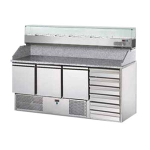 REFRIGERATED SALADETTE TN PREP TABLE - STAINLESS STEEL AISI 304 - Mod. KEG3800 - STATIC COOLING - GASTRONORM 1/1(cm 53 x 32,5) - N. 2 REFRIGERATED DOORS - TEMPERATURE +2°/+8°C - Dim. cm. L 90 x D 70 x h 88,8 - CE APPROVED