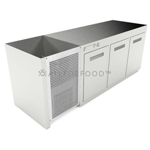 RECESSED REFRIGERATED UNDER BAR COUNTER - MOD. CIR609/TN100 - Temperature TN +4°C/+8°C - L. 100 cm - BUILT-IN CONDENSING UNIT - STATIC COOLING - POWER W 253 - CAPACITY lt 254