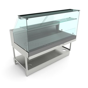 AMBIENT DISPLAY - MOD. VSNVBD - FINISHING PANELS NOT INCLUDED - LOW FLAT GLASS FRONT - GRADE AISI 304 STAINLESS STEEL DISPLAY - CE APPROVED - DISPLAY DEPTH 66,5 CM
