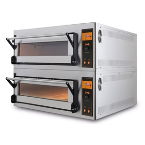 ELECTRIC OVEN SUITABLE FOR PIZZA, BREAD AND PASTRY - Mod. US 4 - N. 1 chamber - Firebrick oven base or firebrick oven base and top - Static - Low power consumption - Humidity control - Chamber dimensions cm L 83 x D 84 x h 18 - N. Pizzas 4 (Ø cm 40) - N. 2 Trays 60x40cm - Power 6,9 Kw - Three phase 400v - CE standards