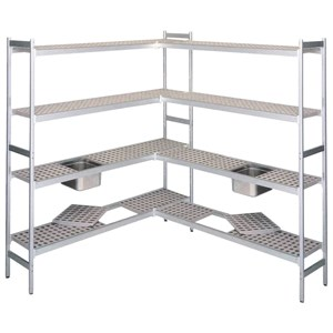SHELVING UNIT - ANODIZED ALUMINIUM - BASE UNIT - MOD. RF - N. 4 SHELVES - SUITABLE FOR GN PANS SIZE 1/2, 1/1, 2/1 AND 2/3 - DESIGNED TO BEAR HEAVY LOADS WITH MINIMAL FLECTION - AVAILABLE IN 3 HEIGHTS: cm 150 / 170 / 200 h
