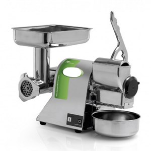 MEAT MINCER/CHEESE GRATER - MOD. TCGR8A - FOOD GRADE ALUMINIUM MINCING SET - POWER Kw 0,38 (0,5Hp) - SUPPLY V 230/50Hz SINGLE PHASE - MEAT PRODUCTION PER HOUR Kg 20 - CHEESE PRODUCTION PER HOUR Kg 30 - DIMENSIONS Cm 38 x 26 x 36 - CE STANDARDS