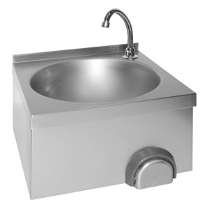 HAND-WASH BASIN - WALL-MOUNT - MOD. LM 310 - AISI 304 STAINLESS STEEL - KNEE-OPERATED - TAP AND DRAIN INCLUDED - DIMENSIONS cm 40 x 40 x 31 h - WEIGHT Kg 4
