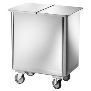 SATINIZED STAINLESS STEEL HOPPER - MOD. AV4666 - With castors - Removable lid - Capacity Lt. 115 -  Dimensions cm L61xD40xH73