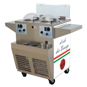 FRESH ICE CREAM PRODUCTION AND EXHIBITION-BENCH MOD. GX2-electronic BATCH FREEZER 2 groups-for SELF SERVICE STORES-capacity lt 2 x 2.5-400 V/50 Hz POWER SUPPLY-AIR COOLED CONDENSER three-phase-power Kw 2-DIM. 68 x d 60 + 12 cm L x h 96-CE