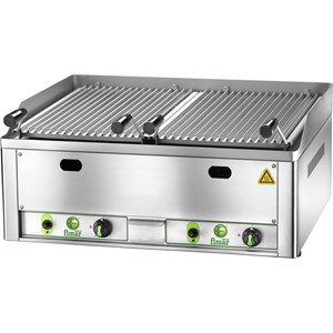 LAVA ROCK CHARGRILL GL - Equipped for LPG - Mod. GL 40 - Stainless steel cooking rolls - Power 9 kw - Power supply METHANE-LPG - Dim. cm L 54,5 x D 42 x 36,3 h - CE APPROVED