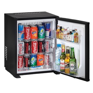 MINIBAR - Mod. F30E - AUTO DEFROST - ABSORPTION COOLING SYSTEM - TEMPERATURE °C 6/7 - SINGLE PHASE SUPPLY 230V/50-60Hz - CAPACITY Lt. 30 - POWER W 60 - Dimensions cm L 41,9 x D 42,3 x 51,2 H - EC standards