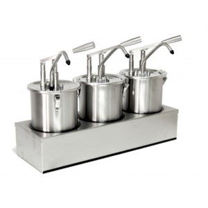 SINGLE SAUCE DISPENSER - Mod. DIS B1 - Stainless steel AISI 304 - Suitable for cold and thick sauces - Capacity lt 3 - Adjustable sauce portion 30ml - Dimensions cm L 18 x D 16,5 x 33h - EC standards