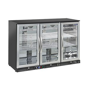 UNDERCOUNTER FRIDGE  - PAINTED STEEL/ALUMINIUM EXTERIOR - FOR BEVERAGES - Mod. BC1PB - VENTILATED COOLING - CAPACITY Lt 140 - SINGLE GLASS DOOR - TEMPERATURE RANGE  +2°/+8°C - Dimensions cm L60,4 x D53,5 x h92 - CE APPROVED