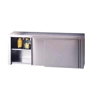 Stainless steel wall shelf unit - n. 2 sliding doors - smooth stainless steel shelf - smooth middle shelf