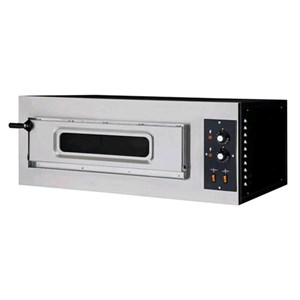 ELECTROMECHANICAL PIZZA OVEN - Mod. BASIC 1/50/V - Single deck oven with glass window - firebrick oven base - Chamber dimensions cm L 62 x D 50 x 12 h - N. Pizzas 2 (Ø cm 32) - Power 5 Kw - EC standards