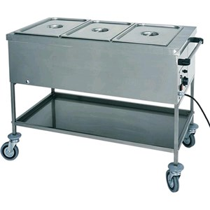 HOT TROLLEY - MOD. CT - Stainless steel construction - Double-panelled well - Adjustable thermostat +30° +90°C - Single phase V230 50/60 Hz