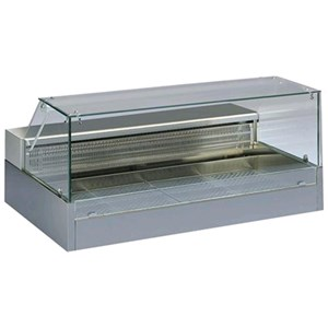 REFRIGERATED COUNTERTOP DISPLAY - SERIES: SHOPPINGVDCOLD - STAINLESS STEEL FRAME - TEMPERATURE °C -1/+6 - SINGLE PHASE - STATIC COOLING - FLAT GLASS - SLIDING DOORS