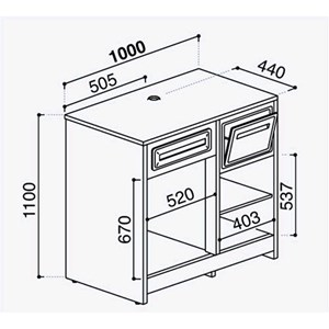 AMBIENT BACK COUNTER FOR COFFEE MACHINE - FINISHING PANELS NOT INCLUDED - MOD. RBBNMC63I100 - STAINLESS STEEL CONSTRUCTION - DIMENSIONS Cm L 100 x D 63 x h 110