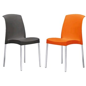 CHAIR JENNY - MOD. 20JEY - RECYCLABLE POLYPROPYLENE SEAT AND BACKREST - ANODIZED ALUMINIUM LEGS DIAMETER mm 25 - INDOOR/ OUTDOOR USE - STACKABLE - MINIMUM PURCHASE QUANTITY  N. 6 - DIMENSIONS cm L 49 x D 47 x H 85 - EC STANDARDS