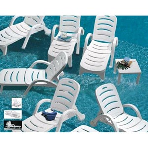 SUN BED STELLA DI MARE CONTRACT - MOD. 1243 - RESIN FRAME - 5-POSITION ADJUSTABLE BACKREST - WITH CASTORS -  FOLDING - FOLDS INTO A COMFORTABLE ARMCHAIR - STACKABLE - OUTDOOR USE - MINIMUM PURCHASE QUANTITY  N. 10 - DIMENSIONS cm L 194 x D 77 x H 100 - EC STANDARDS
