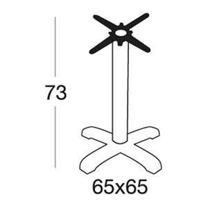 STAND TIFFANY - MOD. 5201BT - 4-FEET POLYPROPYLENE BASE WITH STABILIZING MASS - ADJUSTABLE FEET - ROUND BLACK PAINTED CHROME-PLATED ALUMINIUM POLE ø mm 76 - CAST IRON BRACKETS - TOP MAX ø cm 90 OR cm 90x90 - INDOOR/OUTDOOR USE, BLACK PAINTED ALUMINIUM AND STEEL - INDOOR USE CHROME-PLATED STEEL - MINIMUM PURCHASE QUANTITY  N. 1 - DIMENSIONS cm L 65 x D 65 x H 73 - EC STANDARDS
