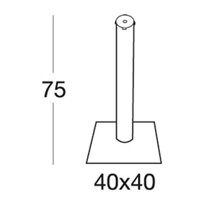 STAND DODO - MOD. 5190AA - SQUARE BASE VARNISHED CAST IRON cm 40 x 40 - RUBBER FEET - ANODIZED ALUMINIUM POLE ø mm 75 - TOP MAX ø cm 70 OR cm 80x80 - INDOOR/OUTDOOR USE - MINIMUM PURCHASE QUANTITY  N. 1 - DIMENSIONS cm L 40 x D 40 x H 75 - EC STANDARDS