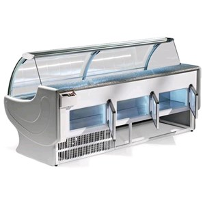 REFRIGERATED SERVE-OVER DISPLAY COUNTER - IDEAL FOR THE DISPLAY OF COLD CUTS, CHEESE AND GASTRONOMY PRODUCTS - MOD. NEPAL_VT - ALUMINIUM LOAD-BEARING STRUCTURE - GRANITE WORKTOP - 304 STAINLESS STEEL DISPLAY DECK - TOP-HINGED CURVED GLASS - BUILT-IN MOTOR - SINGLE PHASE SUPPLY V 230/50 Hz - VENTILATED COOLING - TEMPERATURE °C 0/+2 - EC STANDARDS - DISPLAY DECK DEPTH: 85,5 cm