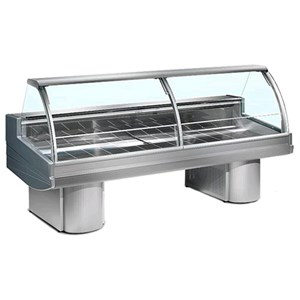 REFRIGERATED DISPLAY COUNTER - IDEAL FOR THE DISPLAY OF MEAT - MOD. BUFFALO - AISI 304 STAINLESS STEEL WORKTOP AND DISPLAY DECK - TOP-HINGED CURVED TEMPERED GLASS FRONT - ON LEGS - BUILT-IN MOTOR - SINGLE PHASE SUPPLY V 230/50 Hz - STATIC COOLING - TEMPERATURE °C 0/+2 - EC STANDARDS - DISPLAY DECK DEPTH: 71,5 cm