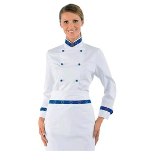 LADY EURO WOMENS CHEFS JACKET - MOD. 057599 - 100% COTTON - ROUND BLUE BUTTONS - COLOUR: WHITE WITH EUROPEAN FLAG DESIGN ON CUFFS AND COLLAR - ELEGANT COLLAR