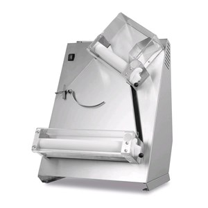 PIZZA DOUGH SHEETER - MOD. TQS40 - 2 sets of rollers (top rollers inclined) - Pizza diameter cm 26/40 - Dough weight gr 80/400 - Motor power W 370 - Single phase 230V/50Hz - EC standards - Weight Kg 37
