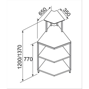 AMBIENT PIZZA BAR AND GASTRONOMY PREP COUNTER - Internal square corner 45° - SEMI-FINISHED, REQUIRES PANELLING - MOD. BNB4520231VB - Low front glass - DIMENSIONS Cm L 65 x D 65 x h 120 - EC STANDARDS