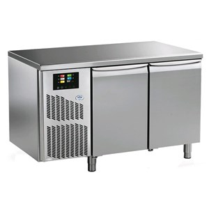 RETARDER PROOFER TABLE FOR BIGA - MOD. PFB145 - Capacity: n. 12 TRAYS cm 60X40 - AISI 304 STAINLESS STEEL COUNTERTOP AND CONSTRUCTION - FAN COOLED - TEMPERATURE -10° + 40°C - N. 2 doors - DIM. Cm L 145,6 x D 75 x h 85