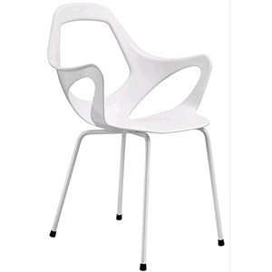 CHAIR / ARMCHAIR DAFNE - MOD. 154 - 4 STEEL LEGS WITH ARMRESTS - POLYPROPYLENE AND PET BODY - CHROME/SATINIZED CHROME FINISH FOR INDOOR USE - PAINTED FINISH FOR INDOOR/OUTDOOR USE - STACKABLE - N. 4-PIECE SET - DIMENSIONS Cm L57 x D55 x H86 - EC STANDARDS