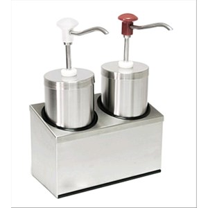 TWIN CYLINDRICAL SAUCE DISPENSER - Mod. DIS C2 - Stainless steel - Suitable for cold sauces, thick sauces, honey - Capacity lt 2,25 x 2 - Adjustable sauce portion ml 30 x 2 - Dimensions cm L 29 x D 14,5 x 47h - EC standards