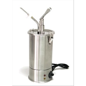 HOT SAUCE DISPENSER - SINGLE CYLINDER - Mod. DIS G1 - Pointed for filling donuts, cakes and tarts - Stainless steel AISI 304 - Suitable for very sticky and dense sauces - Adjustable temperature - Capacity lt 3 - Adjustable sauce portion 40ml - Power W 1300 - Single phase - Dimensions cm ø 18 x 50h - EC standards