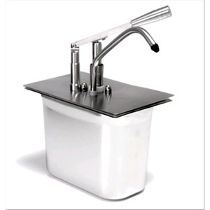 BUILT-IN SINGLE SAUCE DISPENSER - Mod. DIS L1 - Tub GN 1/4 cm 20h - Suitable for very sticky, dense and cold sauces - Capacity lt 5 - Adjustable sauce portion 40ml - Dimensions cm L 24 x D 14 x 35h - EC standards