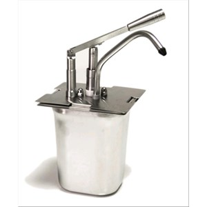 BUILT-IN SINGLE SAUCE DISPENSER - Mod. DIS M1 - Tub GN 1/6 cm 20h - Suitable for very sticky, dense and cold sauces - Capacity lt 3 - Adjustable sauce portion 40ml - Dimensions cm L 18 x D 18 x 42h - EC standards