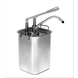 SINGLE SAUCE DISPENSER - Mod. DIS P1 - Stainless steel AISI 304 - Suitable for very sticky, dense, cold sauces - Capacity lt 4,5 - Adjustable sauce portion 40ml - Dimensions cm ø 18 x 42h - EC standards
