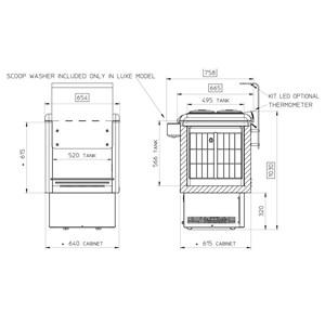 POZZETTI ICE CREAM COUNTER - MOD. DOLCE VITA 4 LUXE - CAPACITY LT. 146 - TEMPERATURE RANGE -5°/-20° - Dim. Cm. L 65,4 x D 75,8 x h 103 - CE standards