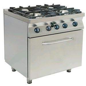 GAS COOKER, FREE-STANDING, 4-BURNERS - MOD. F7/KUG4LO - Without pilot light - Gas oven, static GN 2/1 cm L 68,5 x D 53 x 35 H - Total power kW 26,9 - Dimensions: cm L 80 x D 70 x H 85 - CE approved