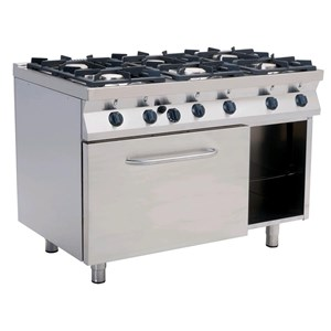 GAS COOKER, FREE-STANDING, 6-BURNERS - MOD. F7/KUG6LE - Without pilot light - Electric oven, static GN 2/1 cm L 68,5 x D 53 x 35 H - Ambient cupboard - Total Gas power kW 28,5 - Dimensions: cm L 120 x D 70 x H 85 - CE approved