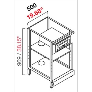 AMBIENT BACK BAR COUNTER FOR ESPRESSO MACHINE - FINISHING PANELS NOT INCLUDED - MOD. RBL500CASSCASSA/VG - METAL CONSTRUCTION - N. 1 CASH TILL DRAWER - N. 1 GREY CHIPBOARD SHELF - AVAILABLE IN 2 DEPTH SIZES: cm 55, 63 - DIM Cm L 50 X H 96,9
