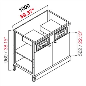AMBIENT BACK BAR COUNTER FOR ESPRESSO MACHINE - FINISHING PANELS NOT INCLUDED - MOD. RBL1000MC - METAL CONSTRUCTION - N. 1 CASH TILL DRAWER - N. 1 COFFEE GROUNDS DRAWER - N. 2 GREY CHIPBOARD DOORS - AVAILABLE IN 2 DEPTH SIZES: cm 55, 63 - DIM Cm L 100 X H 96,9