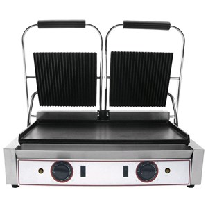 ELECTRIC PANINI GRILL - CAST IRON - Mod. RL 2 - Double smooth plate - Cooking plate cm 48x24 - Power kW 2,2 (x2) - Single phase - Dimensions cm L 56,5 x D 31 x 22h - CE approved